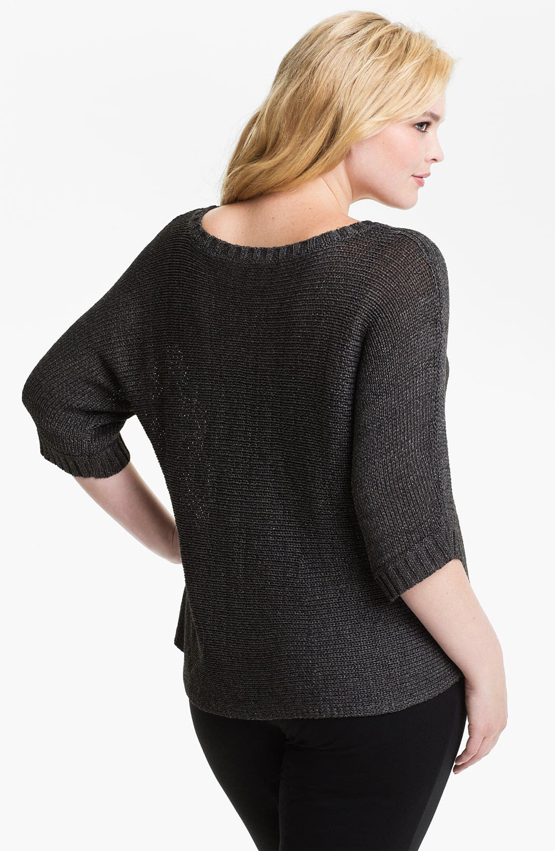 Alternate Image 2  - Eileen Fisher Metallic Open Stitch Sweater (Plus)