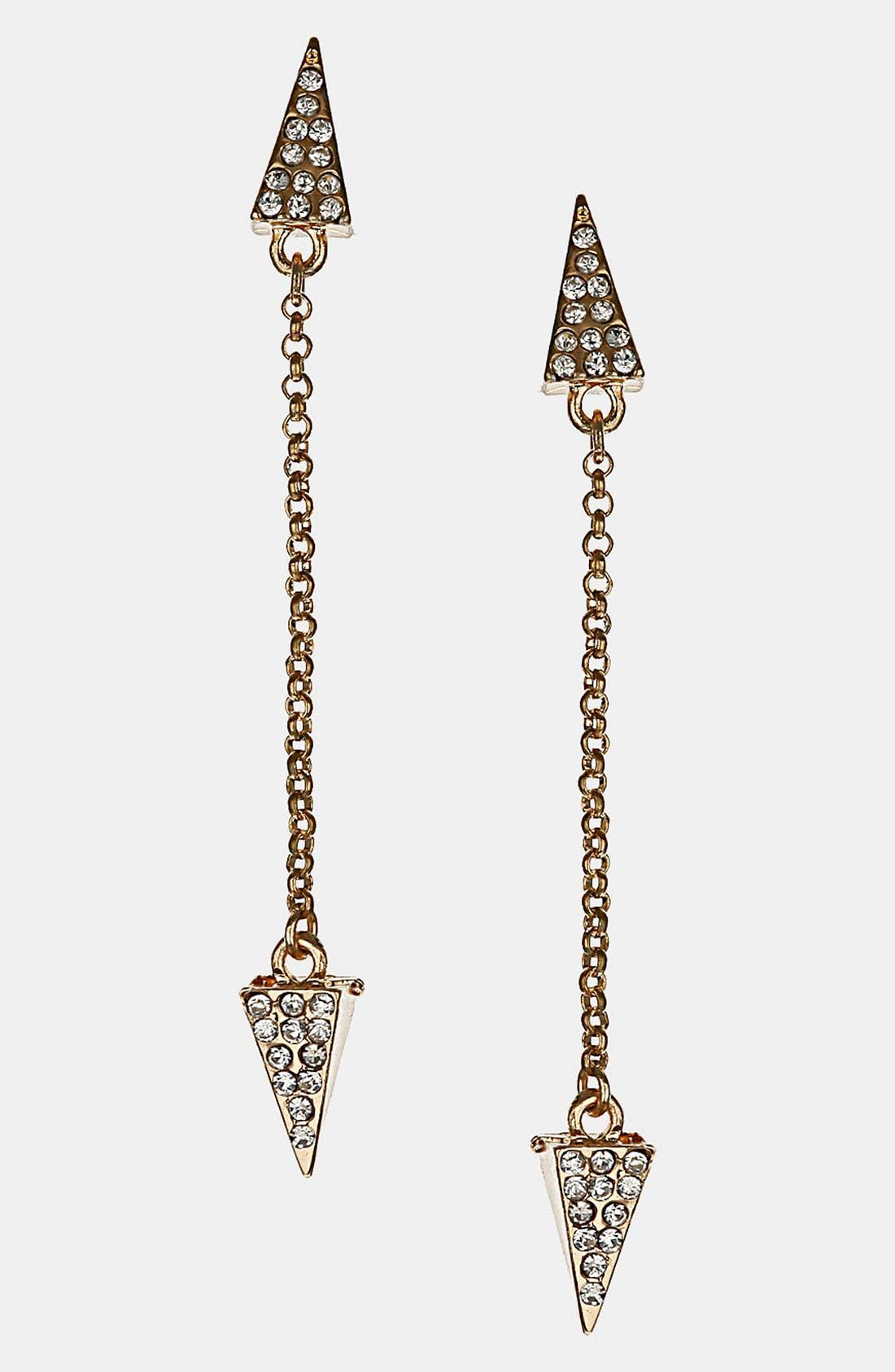 Alternate Image 1 Selected - Topshop 'Rhinestone Arrow' Drop Earrings