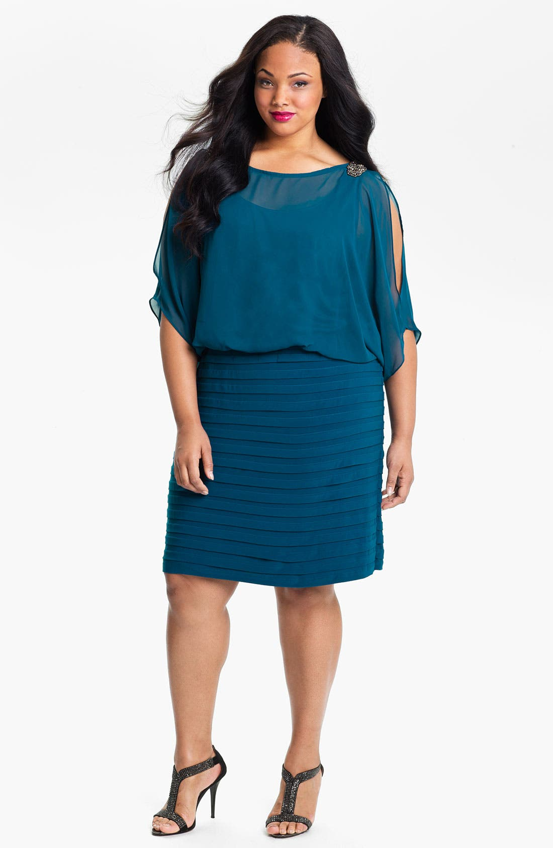 Alternate Image 1 Selected - Xscape Beaded Cold Shoulder Dress (Plus Size)