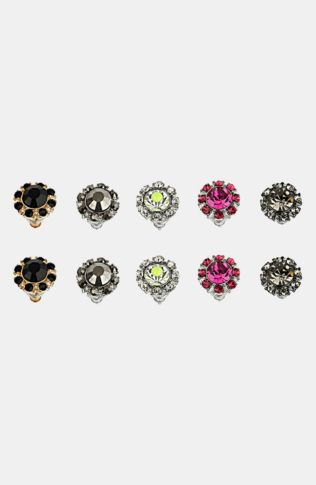 Main Image - Topshop 'Stone Surround' Assorted Stud Earrings (Set of 5)