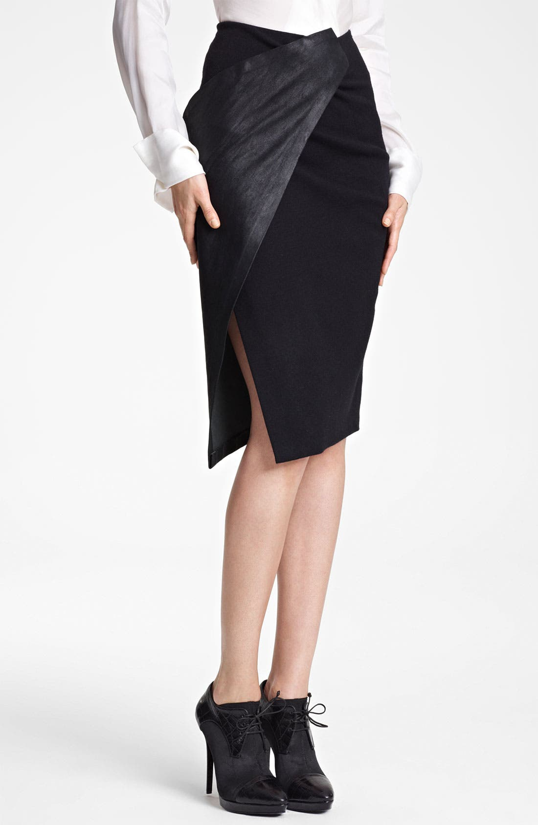 Alternate Image 1 Selected - Donna Karan Collection Stretch Leather & Jersey Scissor Skirt