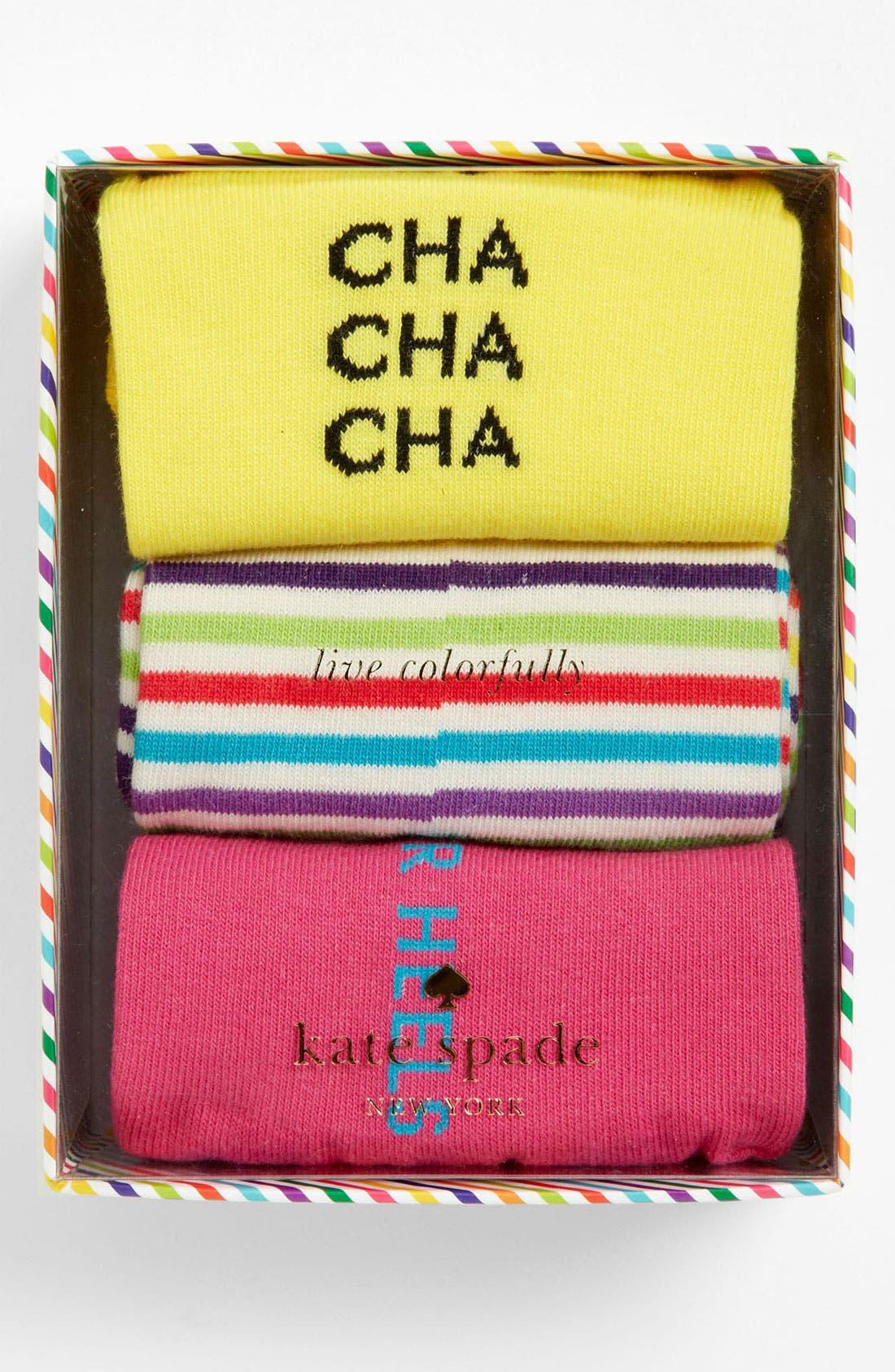 Main Image - kate spade new york 'holiday' socks (3-Pack)