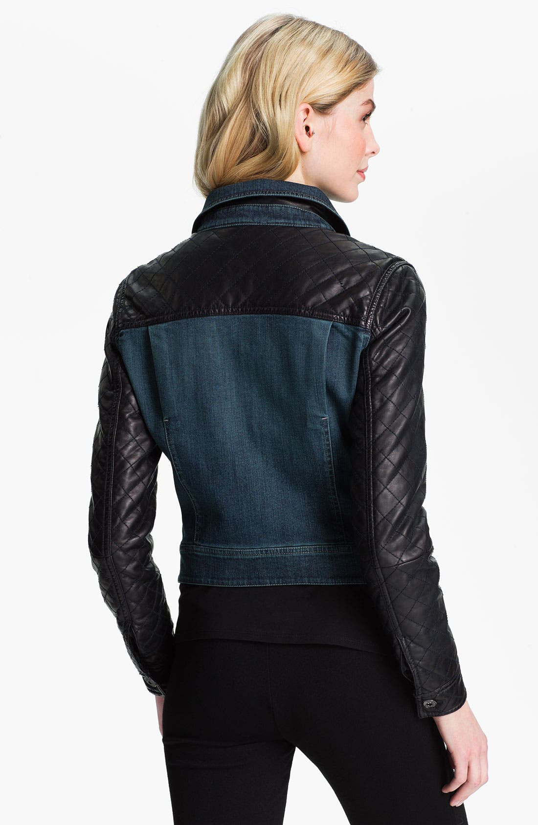 Alternate Image 2  - Isaac Mizrahi Jeans 'Kimberly' Mix Media Jacket (Online Exclusive)