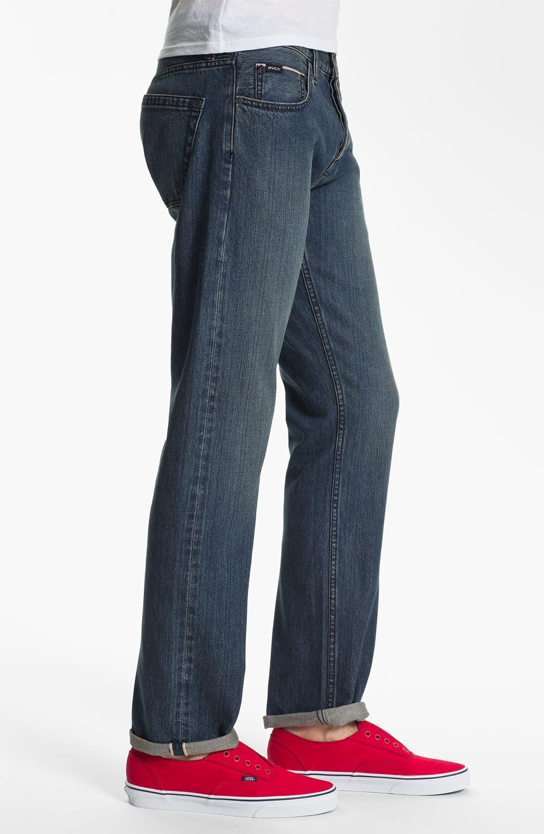 Alternate Image 3  - RVCA Super Slim Straight Leg Selvedge Jeans (Easy Does It)
