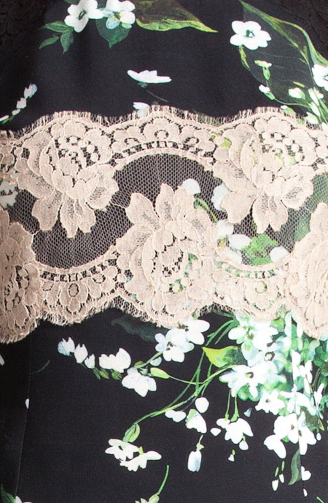 Alternate Image 3  - Dolce&Gabbana Lace & Lily Print Stretch Cady Shell