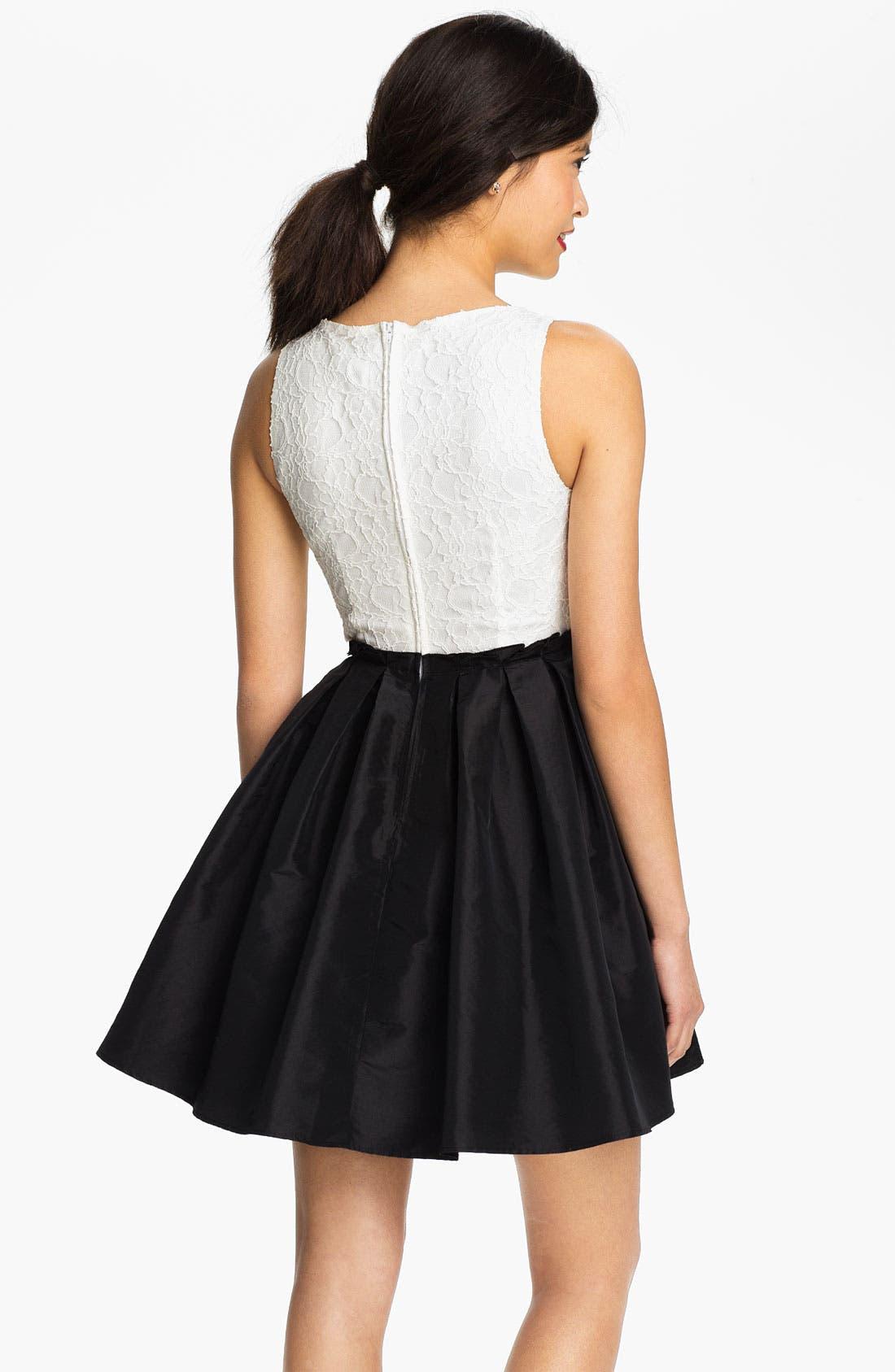 Alternate Image 2  - Way-In Lace & Taffeta Dress (Juniors)