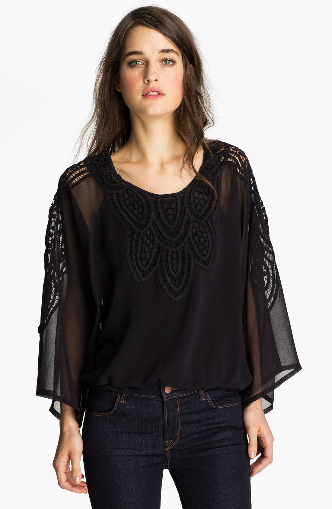 Alternate Image 1 Selected - Sanctuary 'Santa Fe Nights' Crochet Chiffon Top