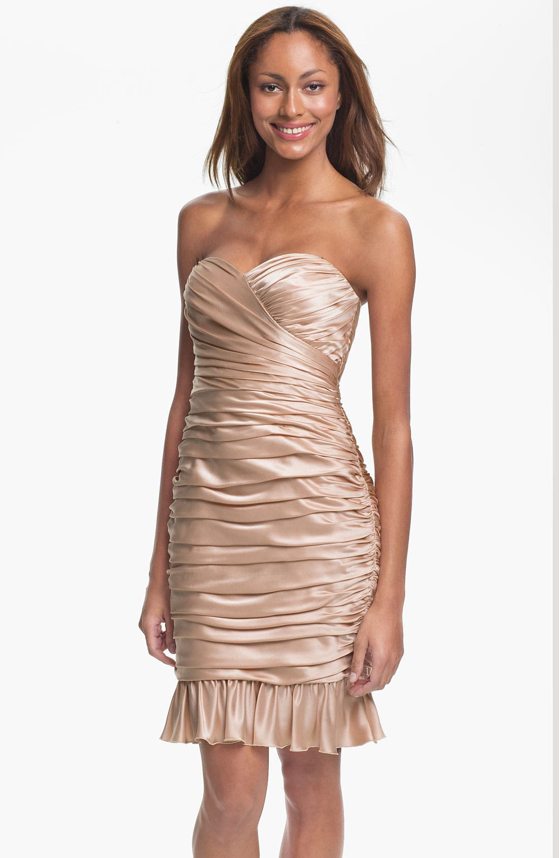 Main Image - Jill Stuart Strapless Ruched Silk Charmeuse Dress