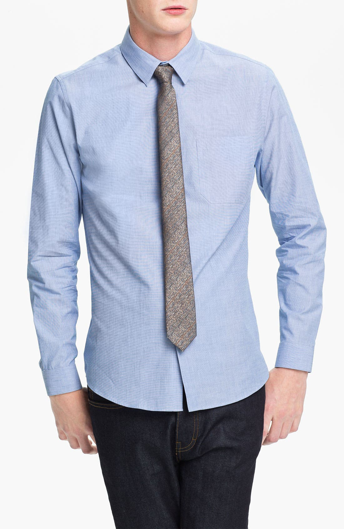 Alternate Image 1 Selected - Topman Slim Fit End-on-End Woven Dress Shirt