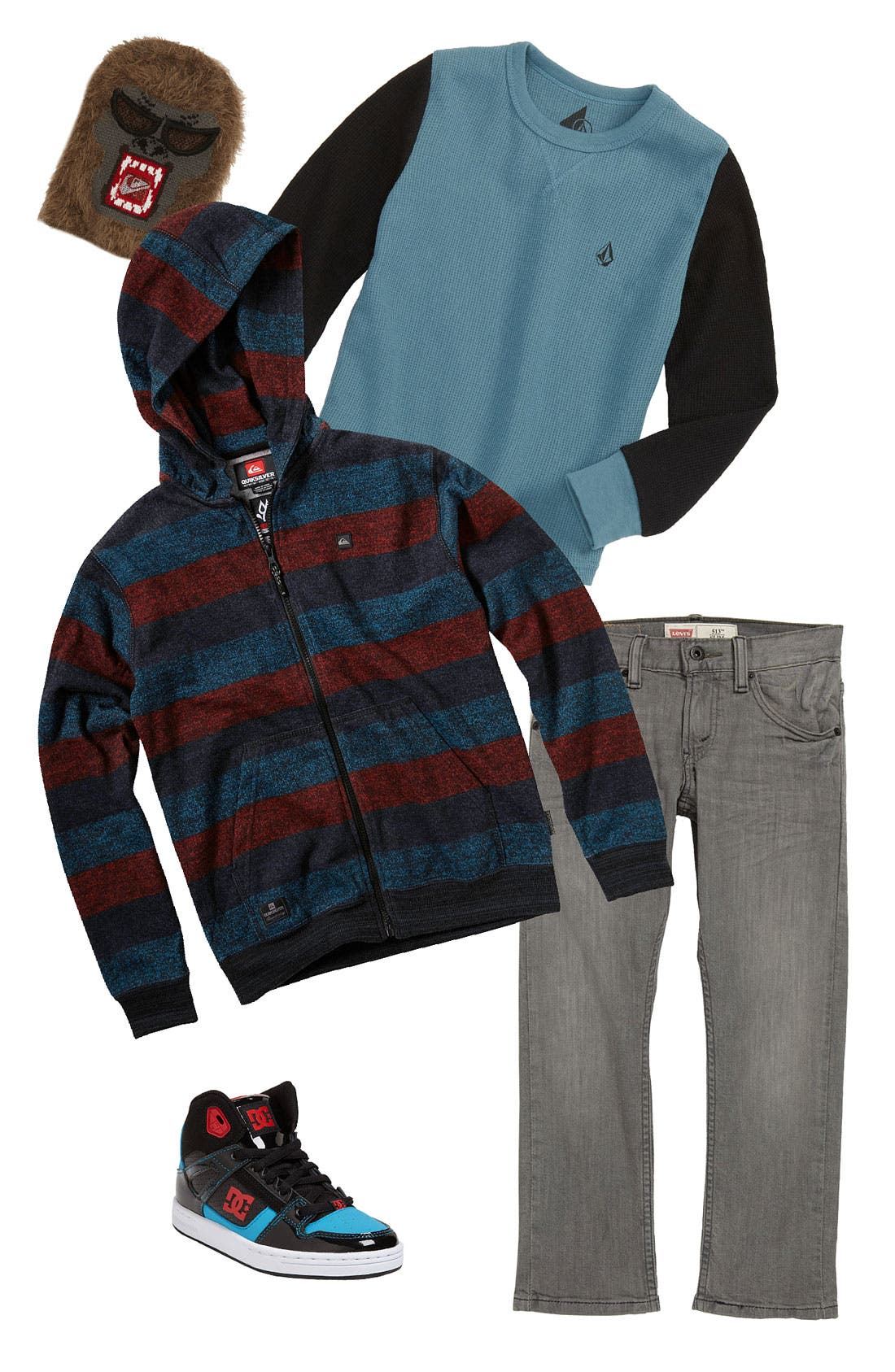 Main Image - Quiksilver Hoodie, Volcom T-Shirt & Levi's® Jeans (Big Boys)