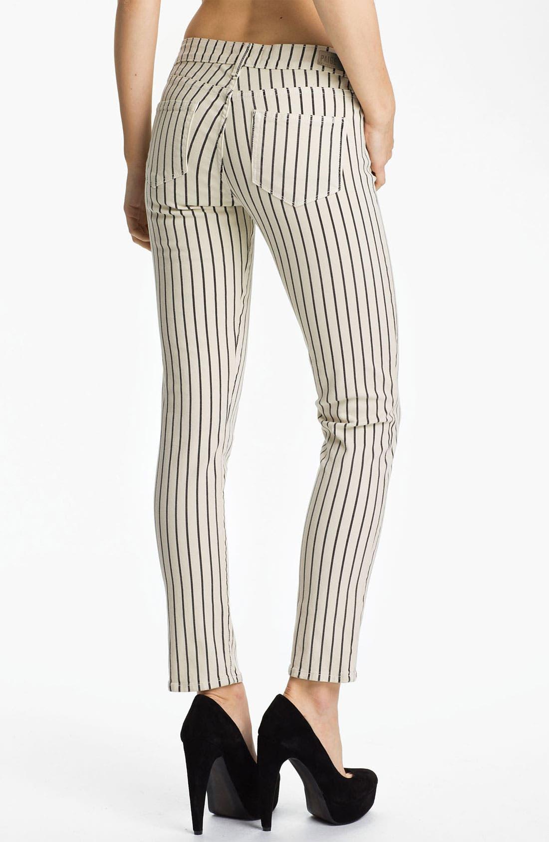 Alternate Image 2  - Paige Denim 'Skyline' Ankle Peg Stripe Skinny Jeans (Birch/Black)