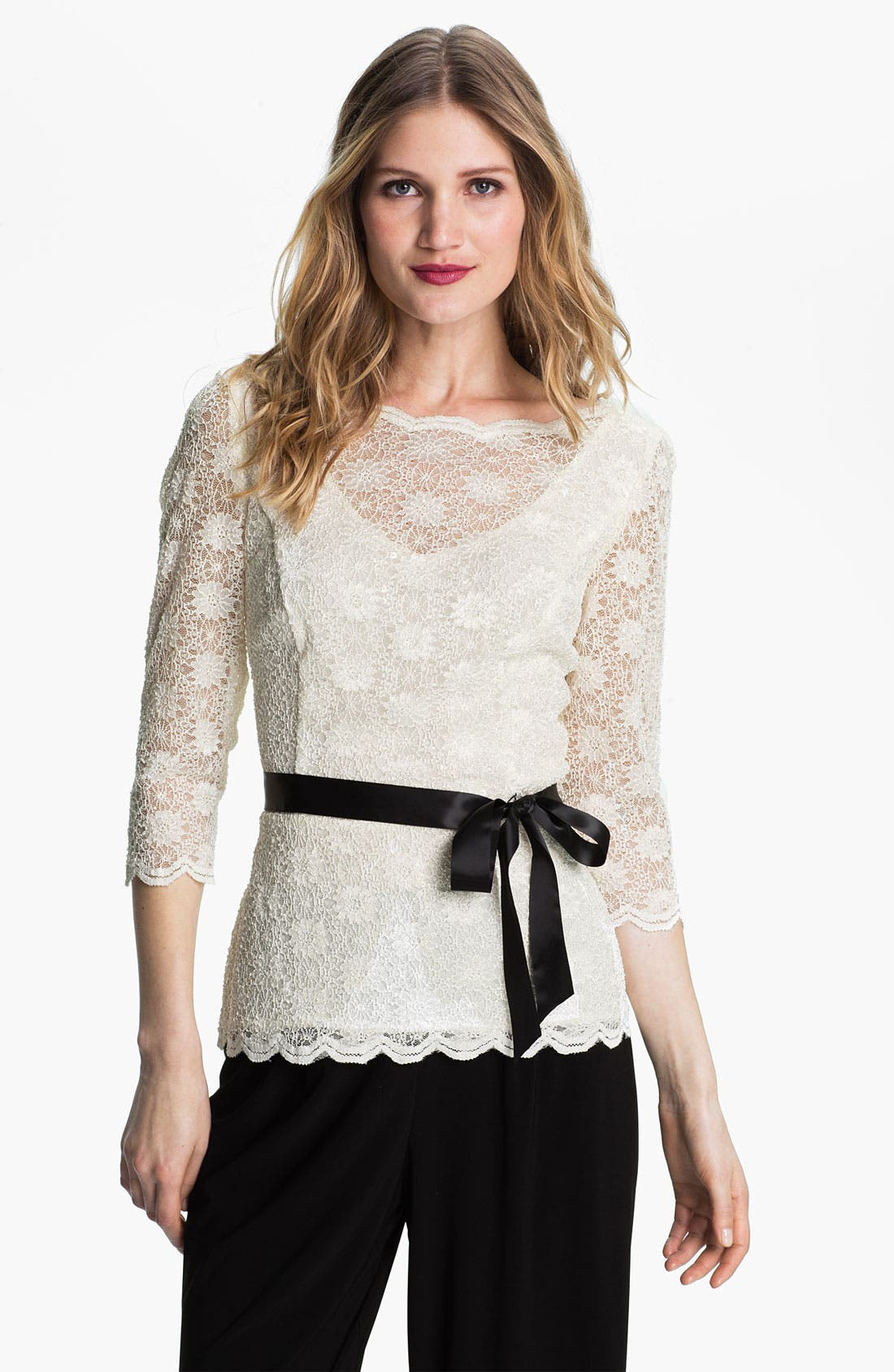 Alternate Image 1 Selected - Alex Evenings Scalloped Lace Overlay Blouse