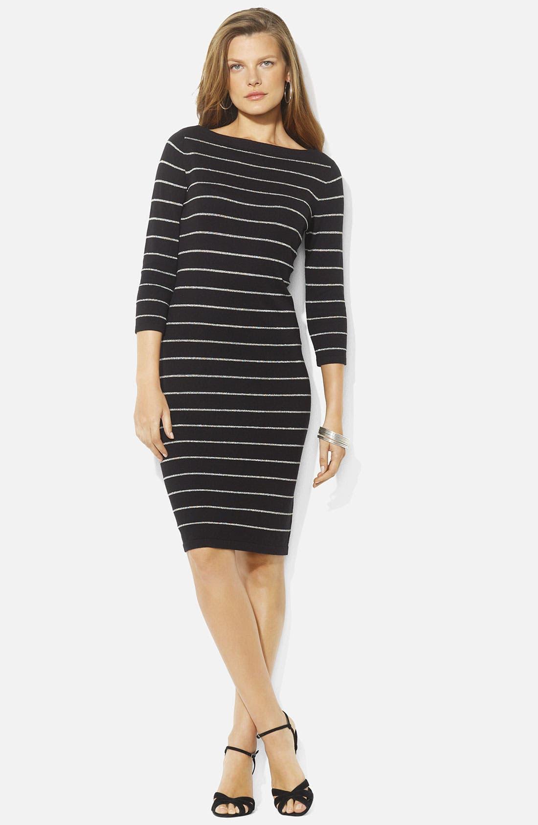 Alternate Image 1 Selected - Lauren Ralph Lauren Metallic Strip Dress