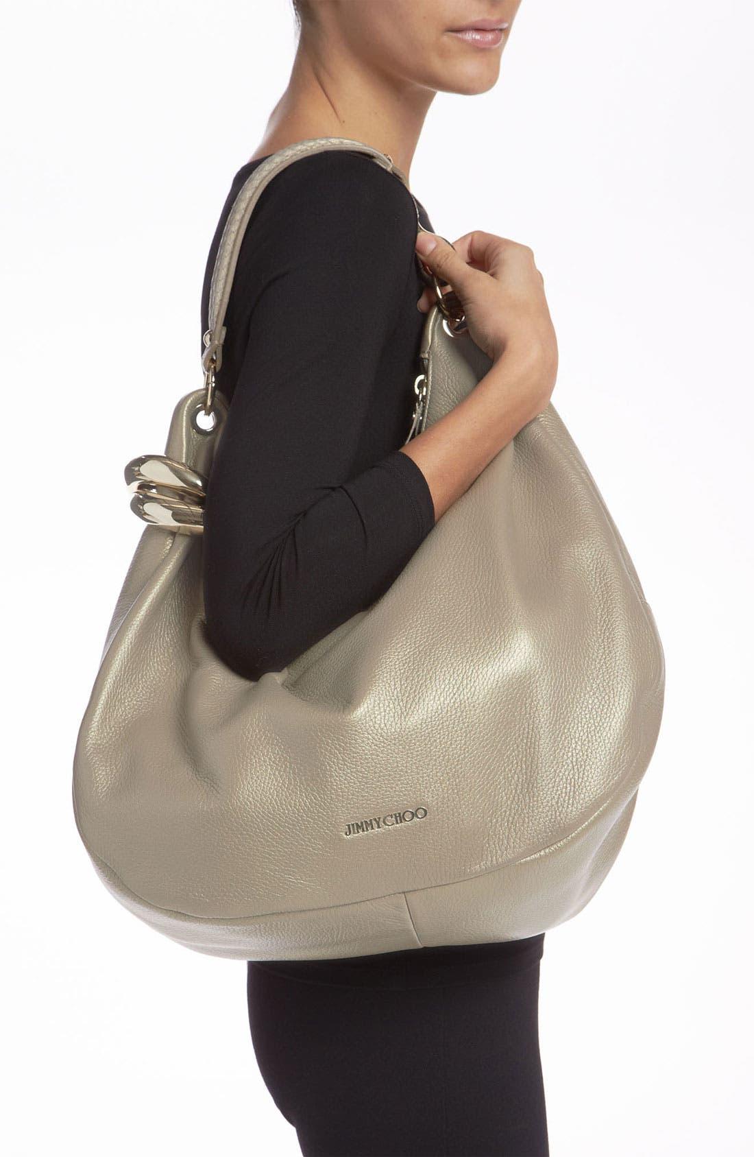 Alternate Image 2  - Jimmy Choo 'Solar - Large' Pearlized Metallic Leather Hobo