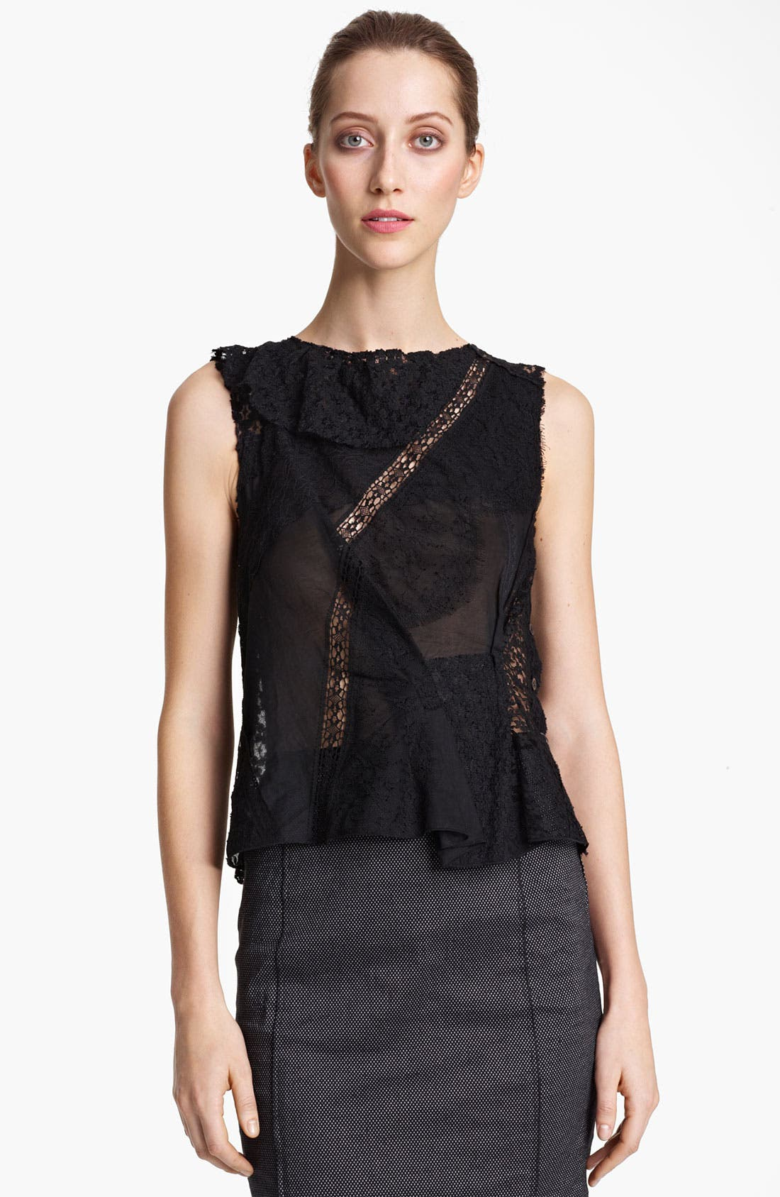 Main Image - Nina Ricci Ruffled Lace Patchwork Blouse