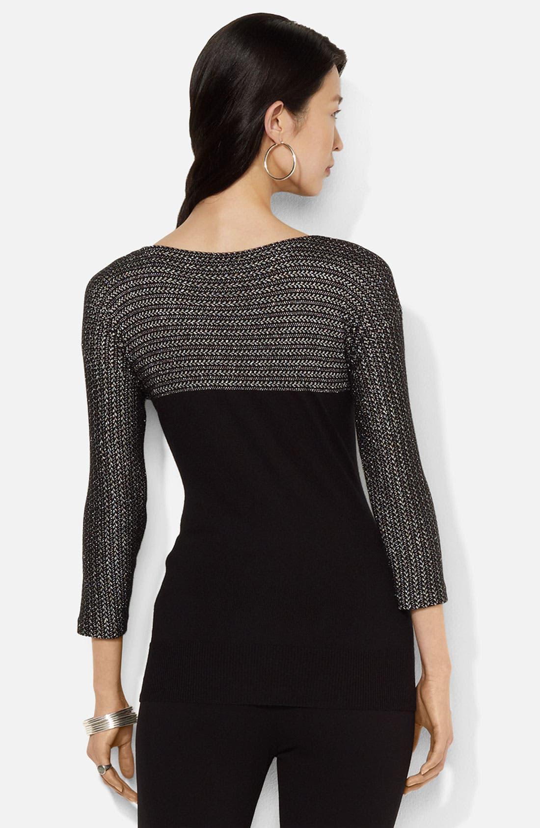 Alternate Image 2  - Lauren Ralph Lauren Metallic Colorblock Sweater
