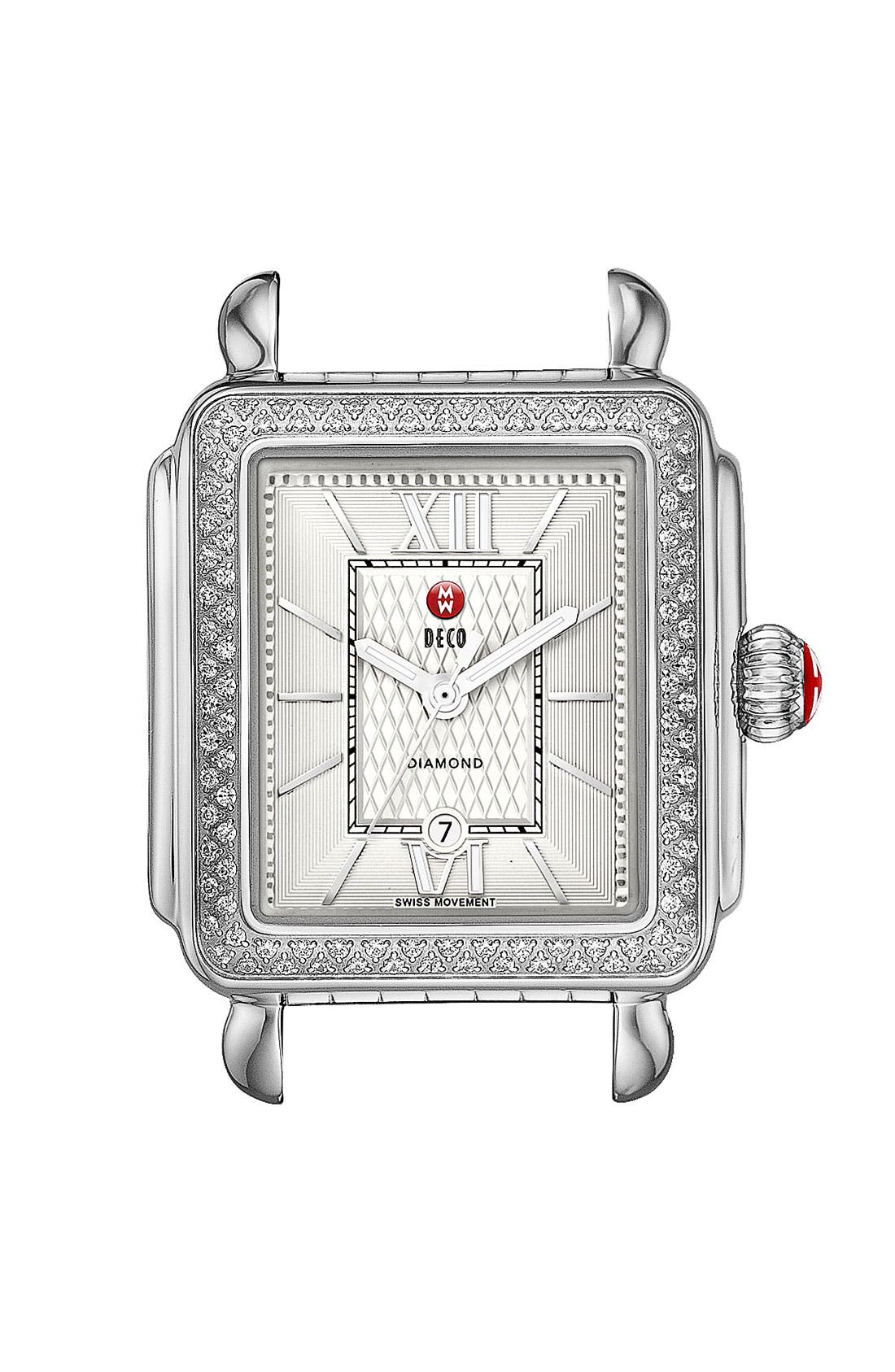 Alternate Image 1 Selected - MICHELE 'Deco Diamond' Guilloche Dial Watch Case, 33mm x 35mm