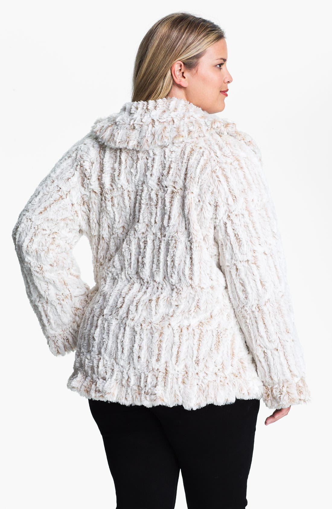 Alternate Image 2  - Damselle Ruffled Faux Fur Jacket (Plus)