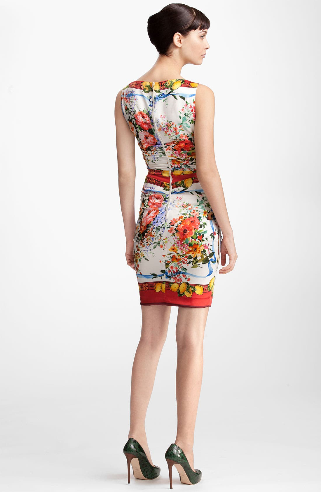Alternate Image 2  - Dolce&Gabbana Floral Print Stretch Satin Dress