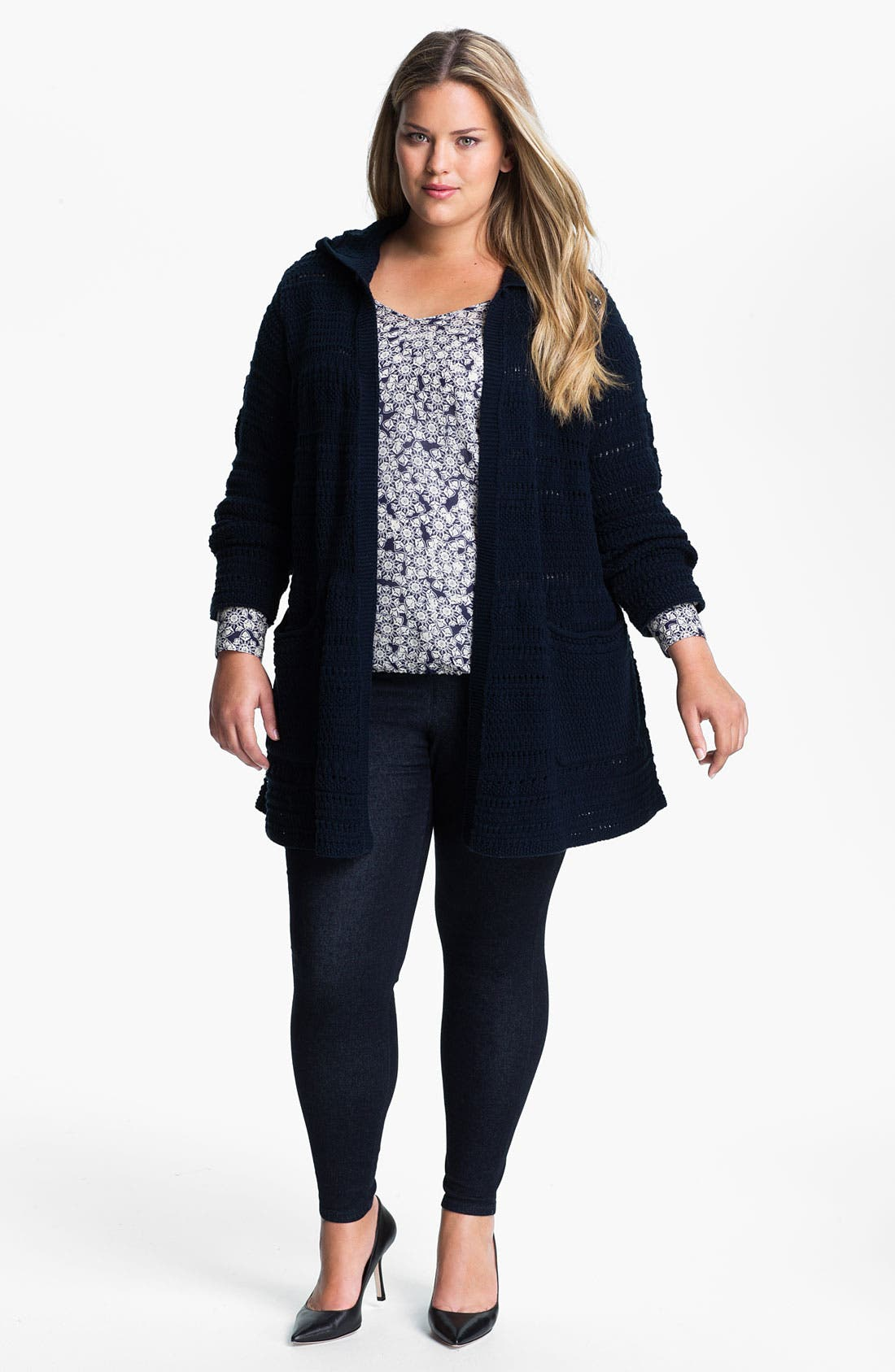 Alternate Image 4  - Lucky Brand Long Hooded Cardigan (Plus)
