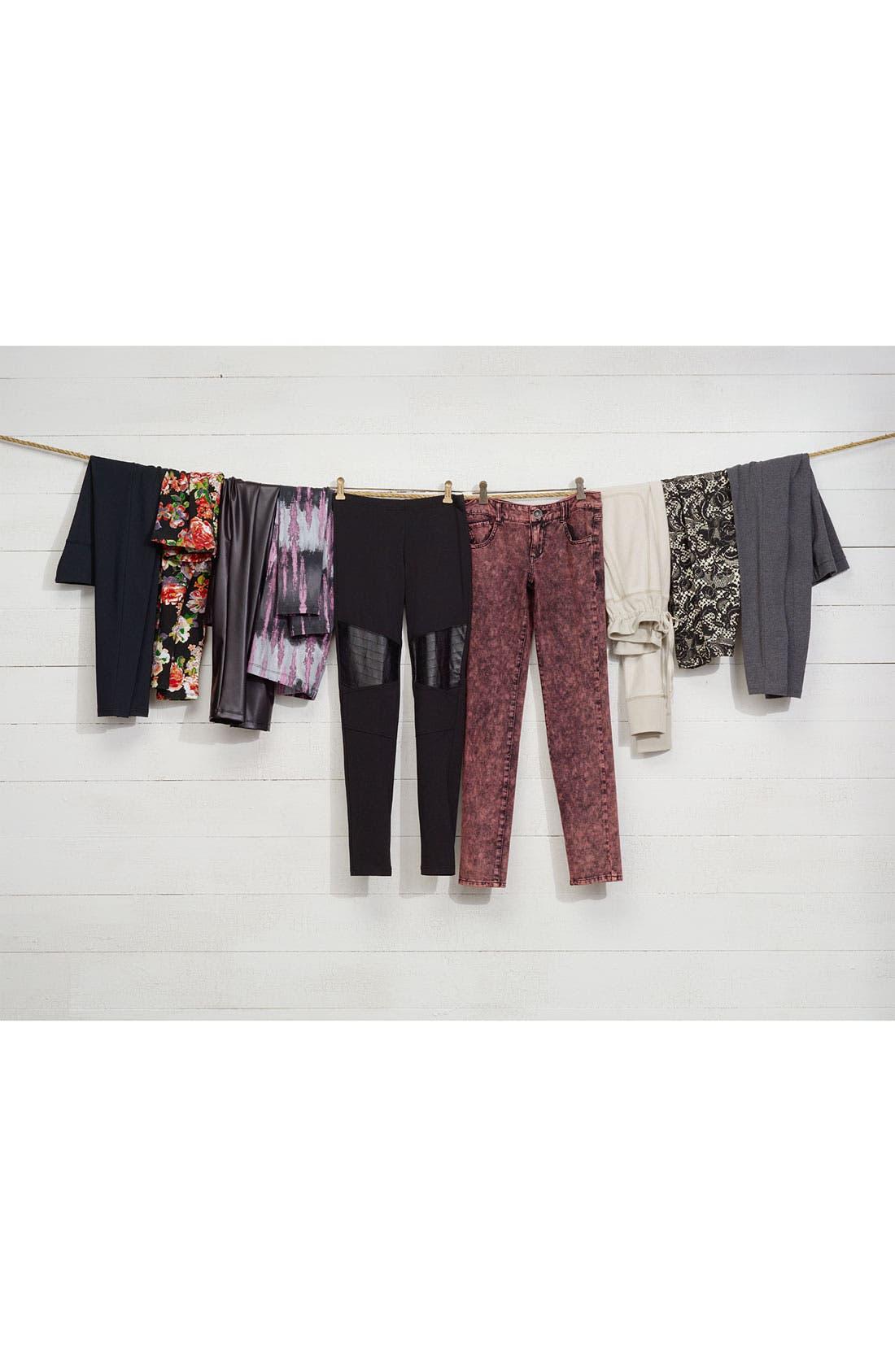 Alternate Image 4  - Jolt Acid Wash Ponte Skinny Pants (Juniors)