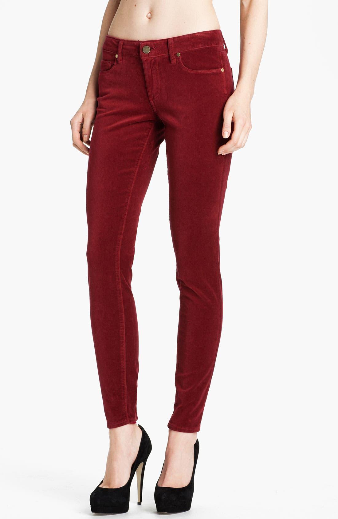 Alternate Image 1 Selected - Paige Denim 'Verdugo' Stretch Velvet Skinny Pants (Lava)