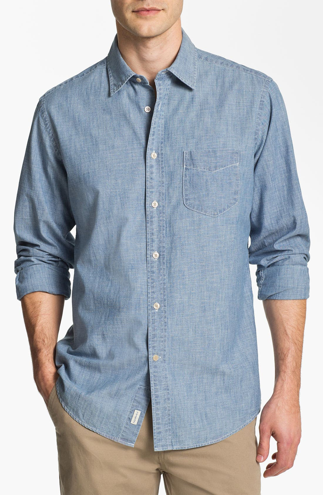 Alternate Image 1 Selected - Façonnable Tailored Denim Regular Fit Chambray Sport Shirt