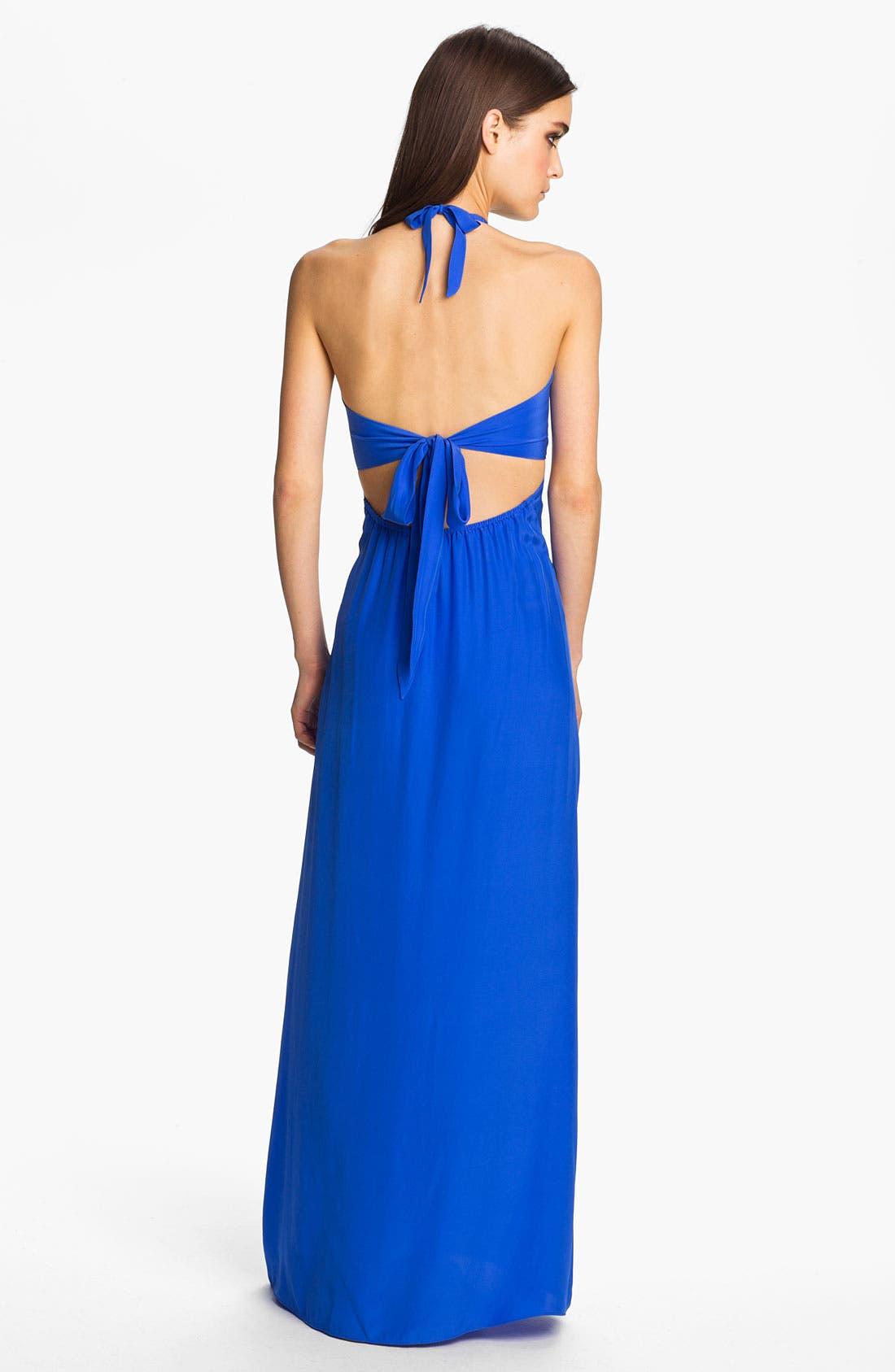 Alternate Image 2  - ALICE & TRIXIE 'Tiffany' Double Tie Silk Halter Maxi Dress