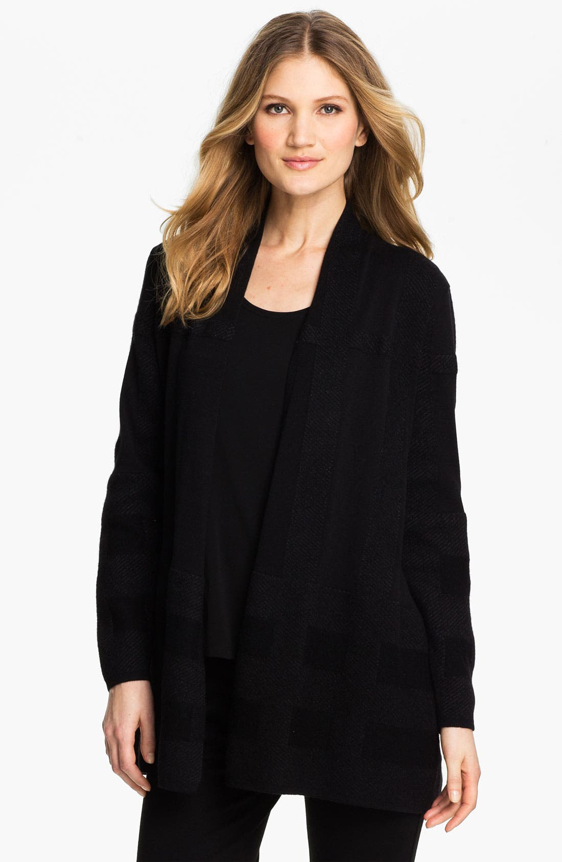 Main Image - Eileen Fisher Gridded Mix Media Cardigan