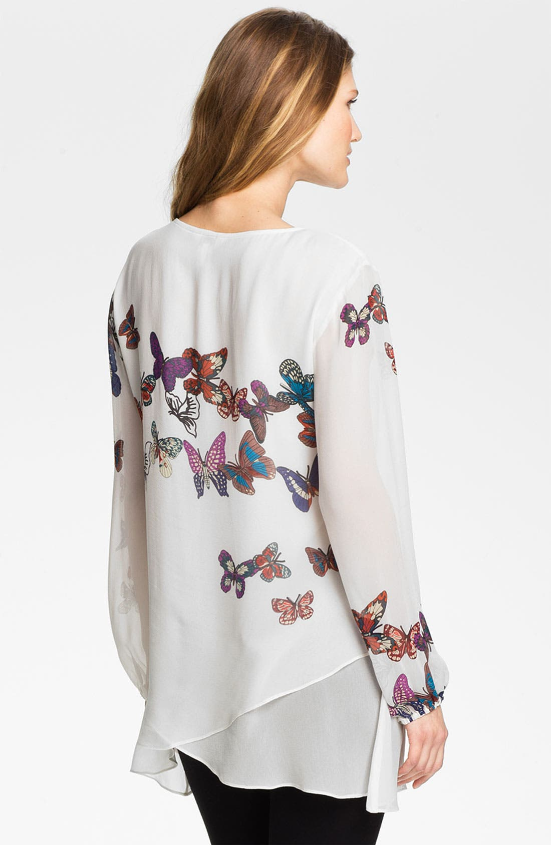 Alternate Image 2  - Citron Butterfly Print Silk Tunic
