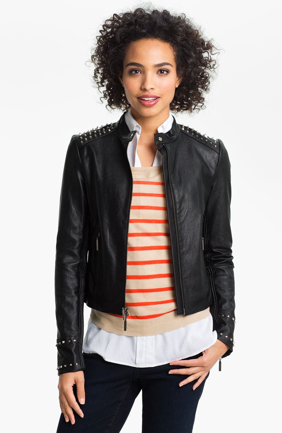 Alternate Image 1 Selected - Two by Vince Camuto Studded Faux Leather Moto Jacket