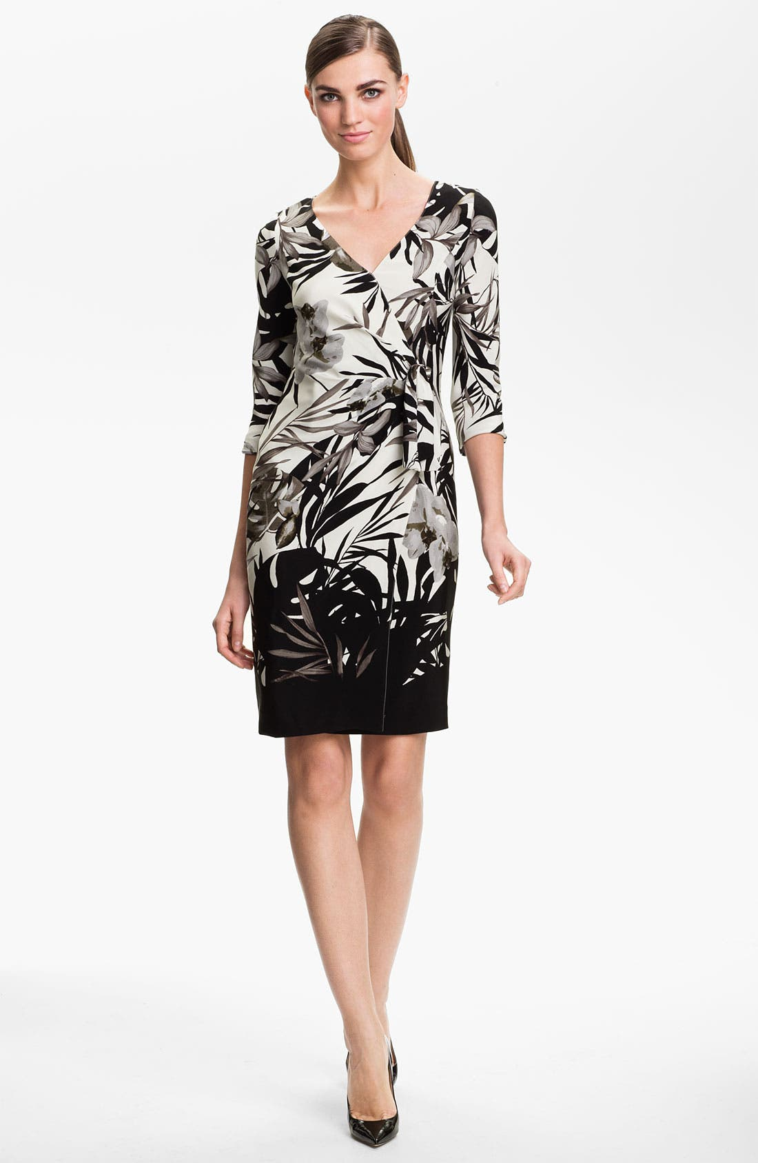 Main Image - St. John Collection Floral Print Faux Wrap Dress