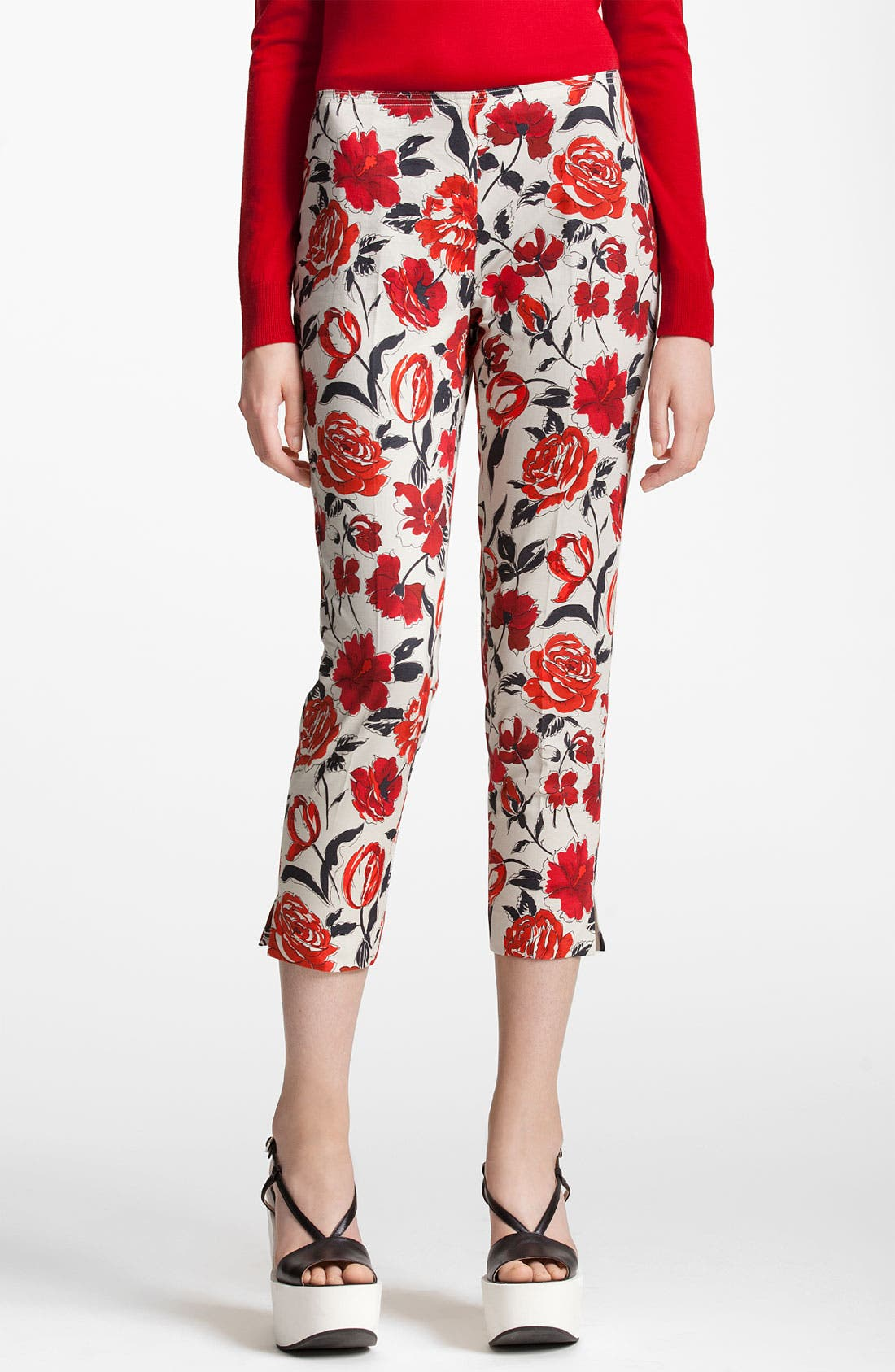 Alternate Image 1 Selected - Jil Sander Navy Garden Print Skinny Crop Pants