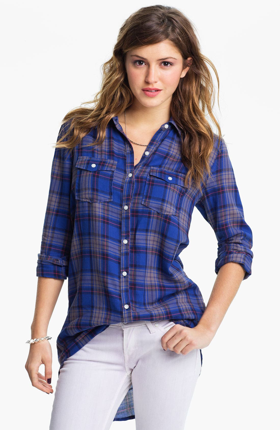 Alternate Image 1 Selected - Rubbish® Plaid Shirt Tunic (Juniors)