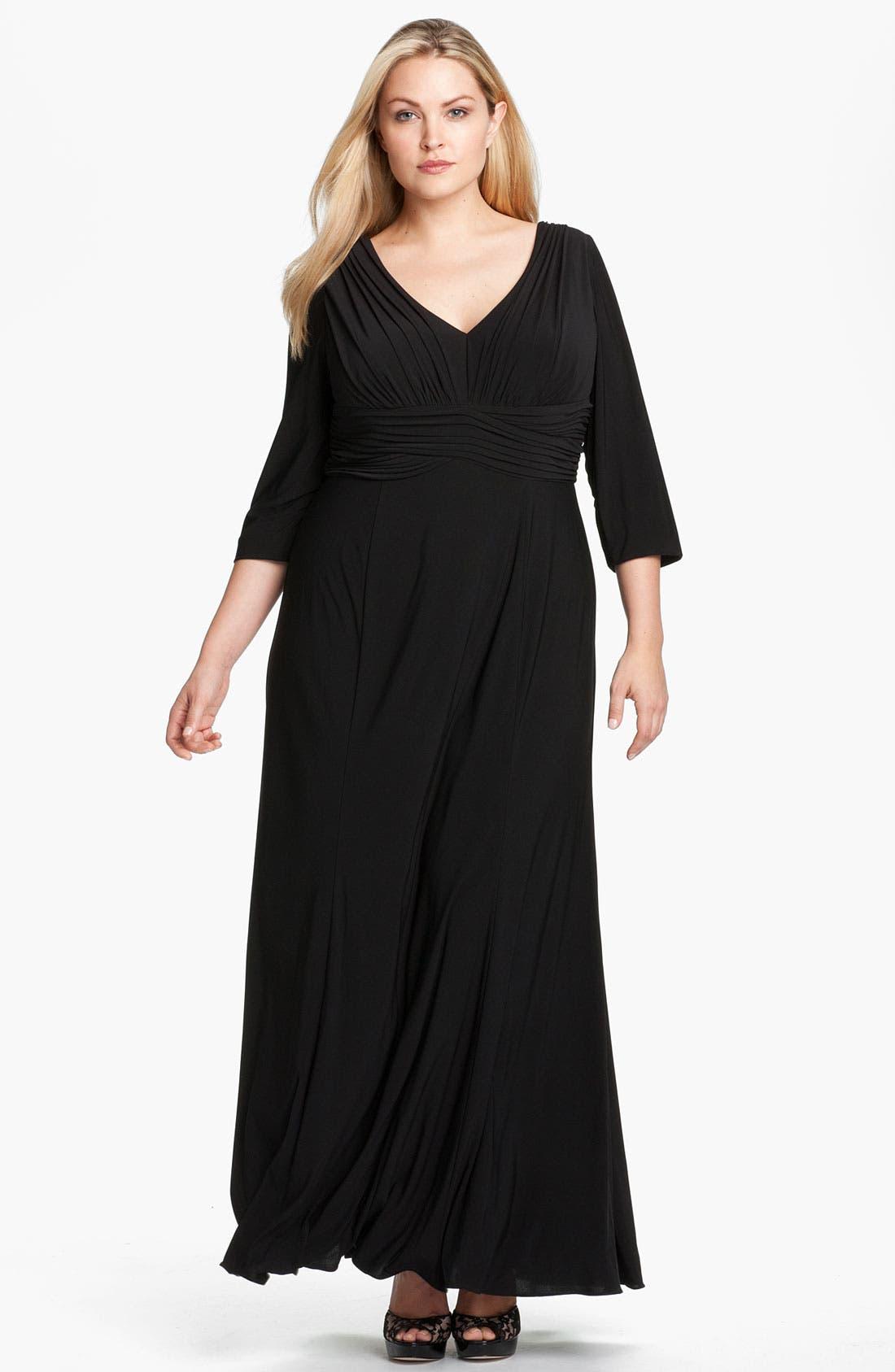 Alternate Image 1 Selected - Alex Evenings Pleated Jersey Dress (Plus)