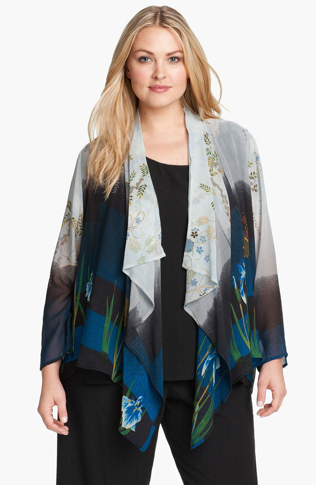 Alternate Image 1 Selected - Citron Floral Print Silk Jacket