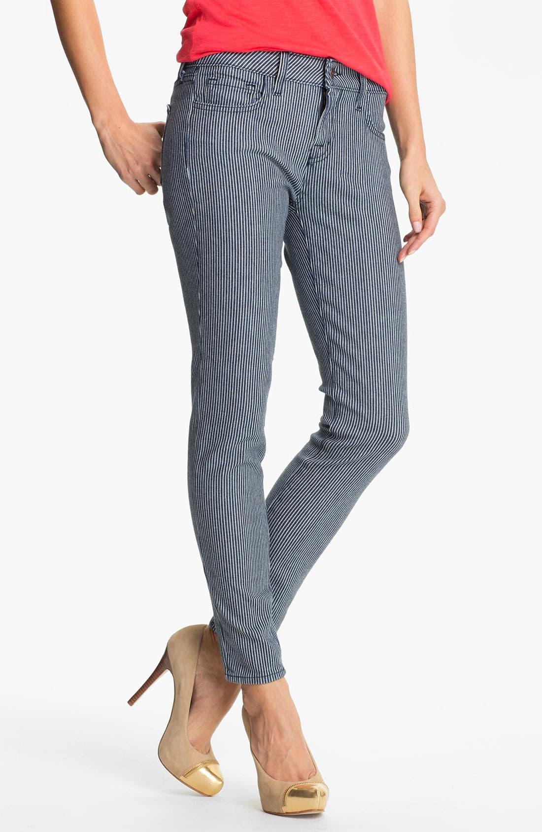 Main Image - Blue Essence Railroad Stripe Skinny Jeans (Nordstrom Exclusive)