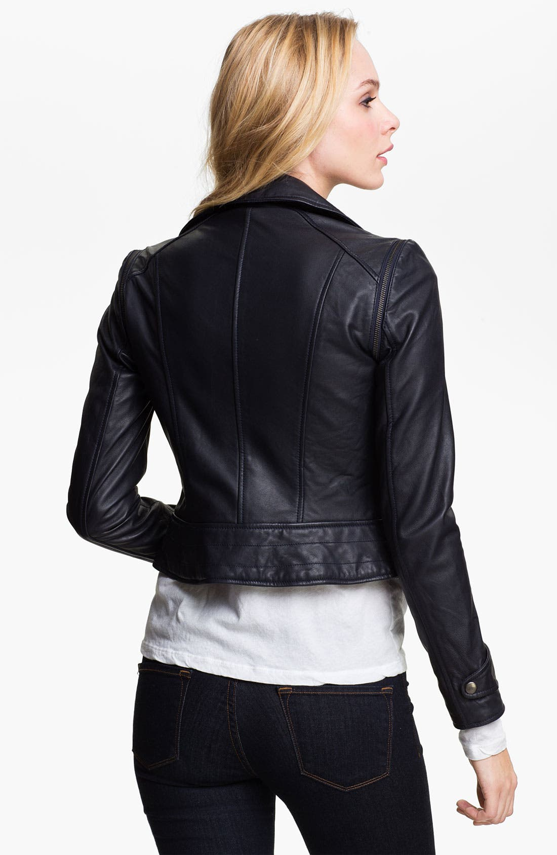 Alternate Image 2  - Kenna-T Convertible Quilted Leather Biker Jacket