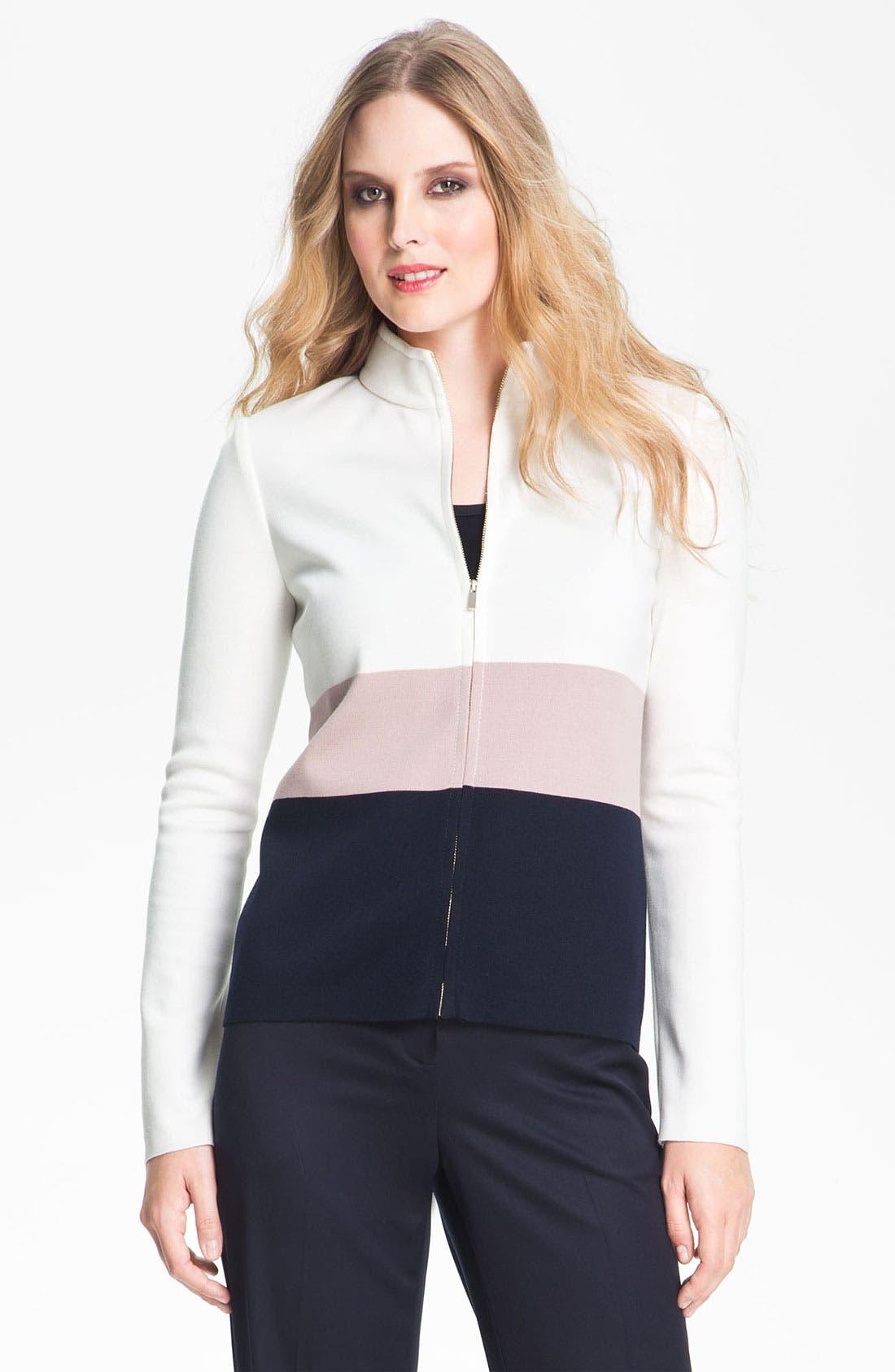 Alternate Image 2  - St. John Collection Colorblock Milano Knit Scuba Jacket