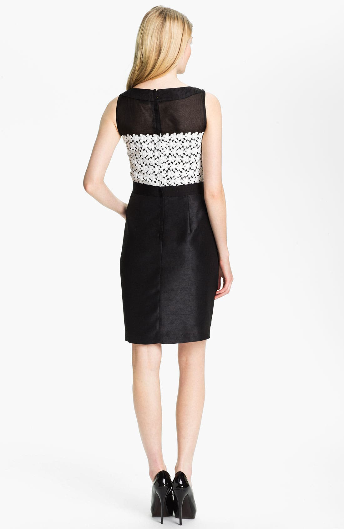 Alternate Image 2  - Taylor Dresses Sleeveless Lace & Shantung Sheath Dress