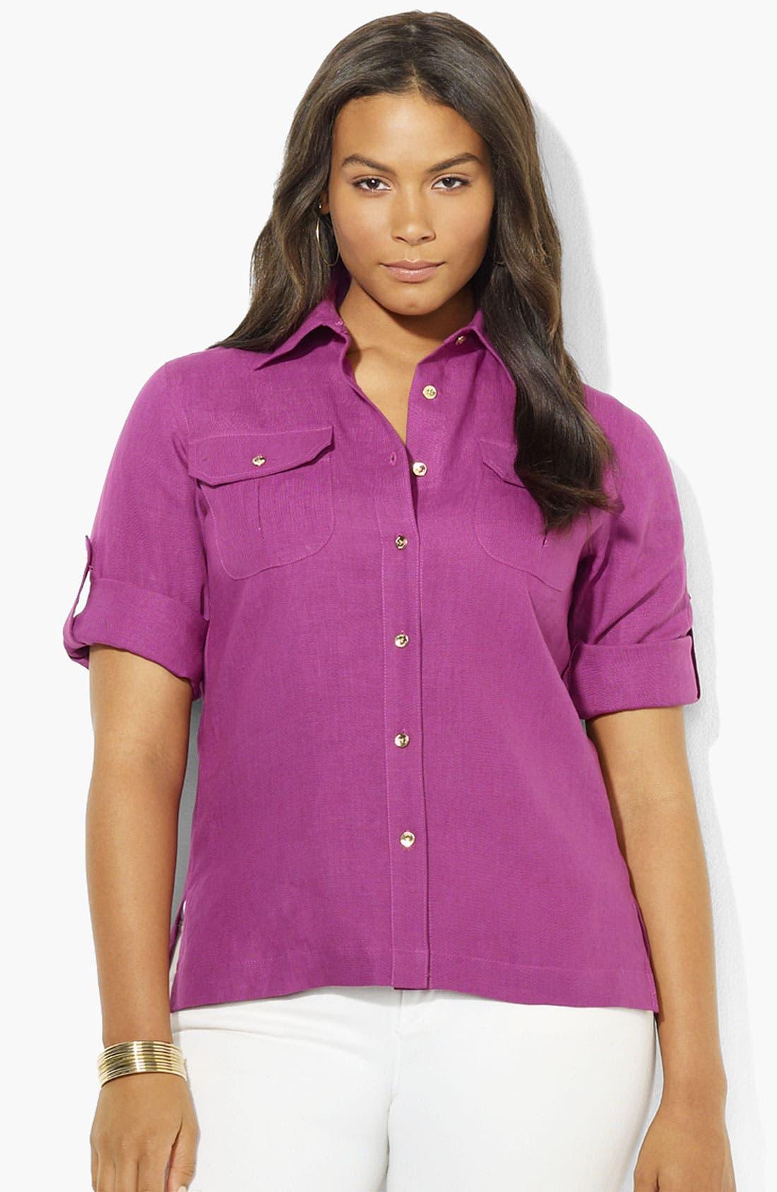 Main Image - Lauren Ralph Lauren Roll Sleeve Linen Shirt (Plus)