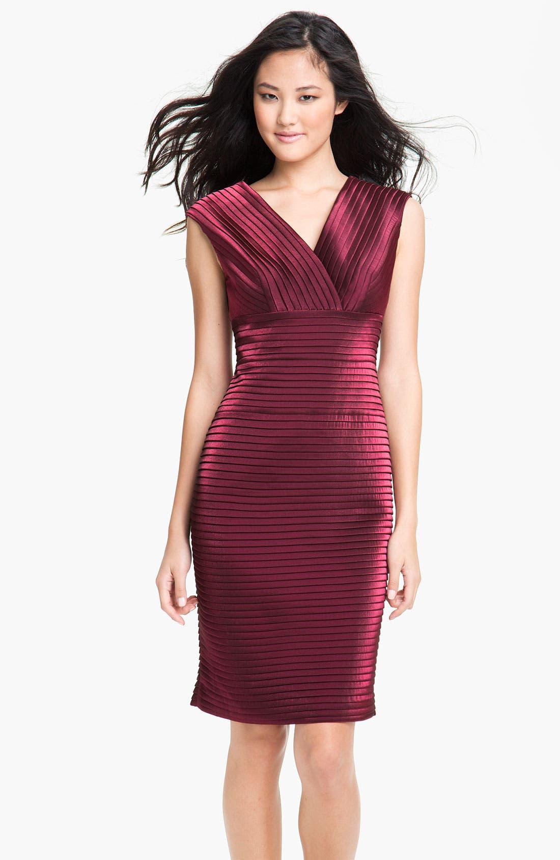 Alternate Image 1 Selected - Adrianna Papell Metallic Pleated Sheath Dress (Petite)