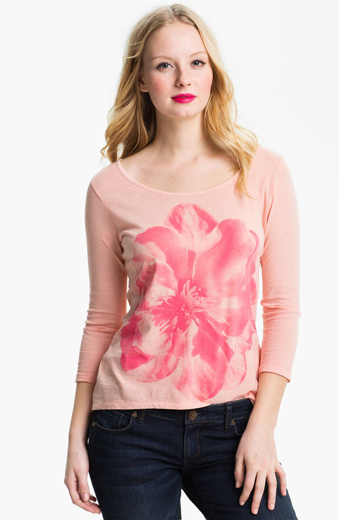 Alternate Image 1 Selected - Lucky Brand 'Washed Hibiscus' Tee
