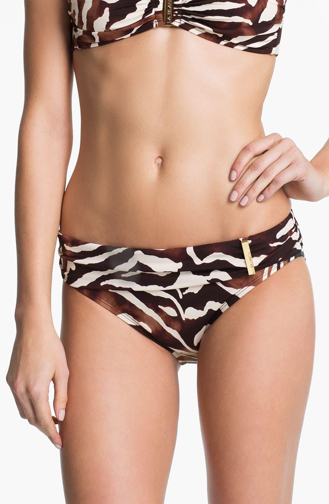 Main Image - La Blanca 'Coast' Shirred Waist Hipster Bikini Bottoms