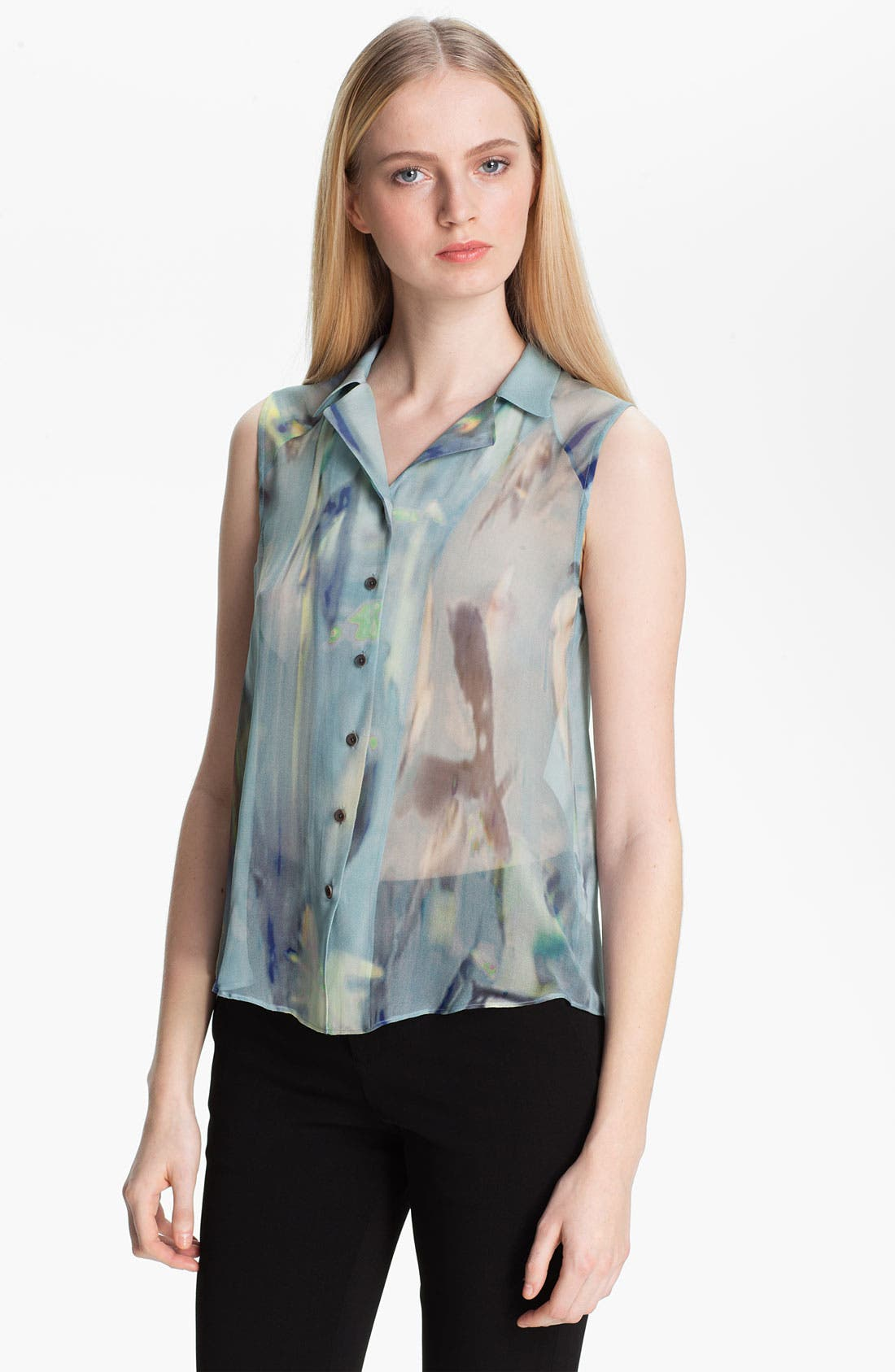 Main Image - Theyskens' Theory 'Badge Iplume' Sleeveless Silk Blouse