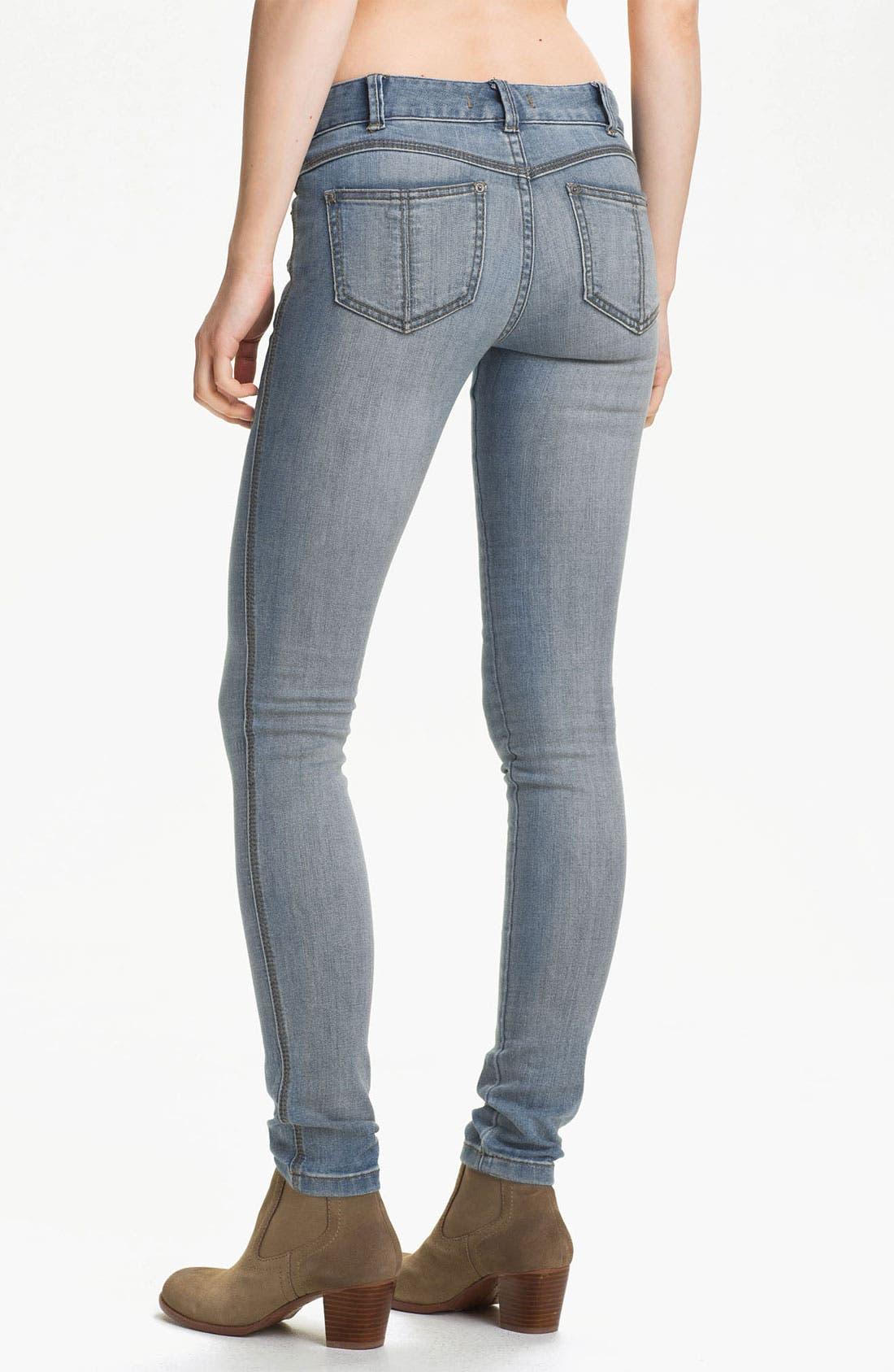 Alternate Image 2  - Free People Stretch Denim Skinny Jeans (Sky Wash)