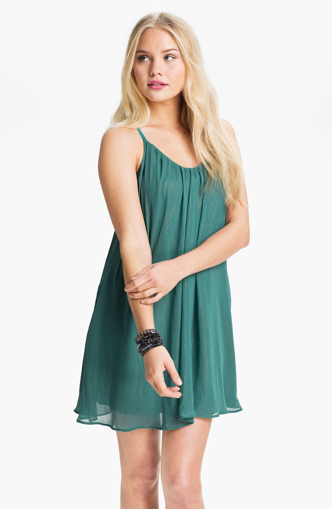 Main Image - dee elle Chiffon Trapeze Dress (Juniors)