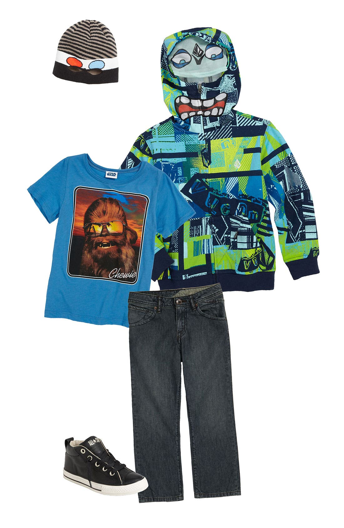 Main Image - Volcom Mask Hoodie & Straight Leg Jeans (Little Boys)