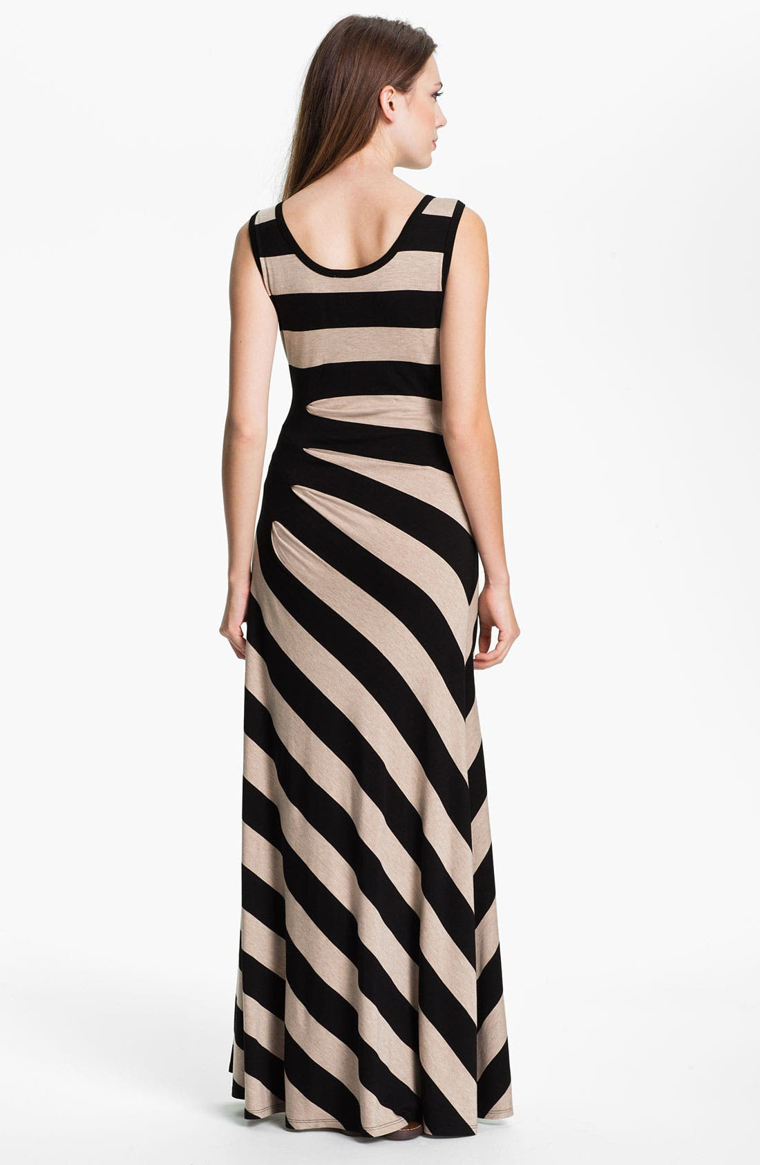 Alternate Image 2  - Calvin Klein Asymmetrical Stripe Maxi Tank Dress