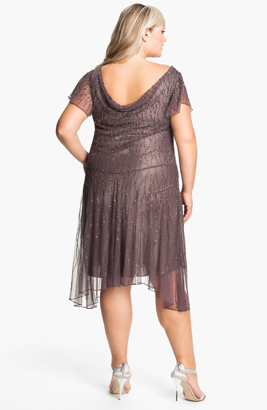 Alternate Image 2  - J Kara Beaded Flutter Sleeve Dress (Plus)